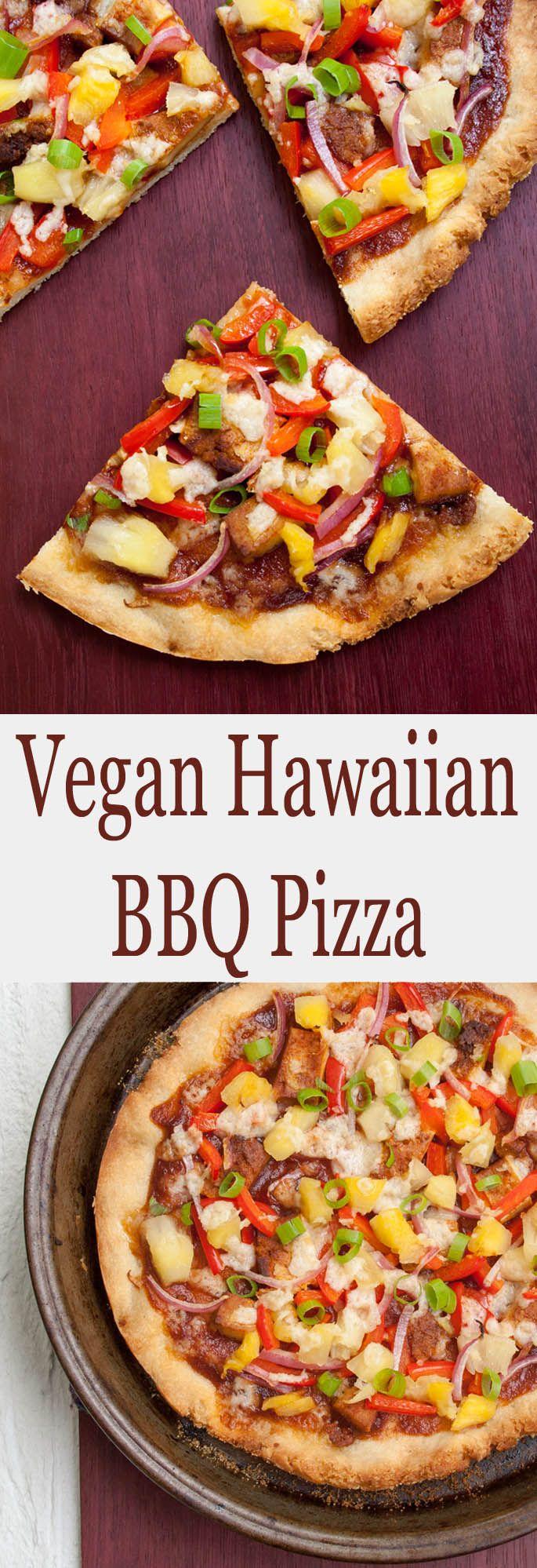 Vegan Hawaiian BBQ Pizza (vegana, sin gluten): esta pizza es dulce, picante y ...