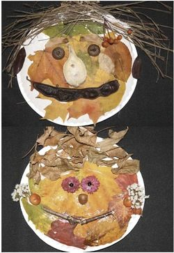 "Leaf activities: We read Lois Ehlert's book The Leaf Man, then collect cool ""stuff"" on our nature walk to make a paper plate Leaf Person. The results are way cool! FREE packet."