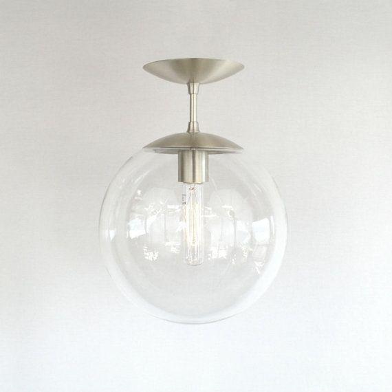 "Modern Mid Century Semi Flush Clear 10"" Globe Pendant Light - The Orbiter 10 Semi Flush Pendant"