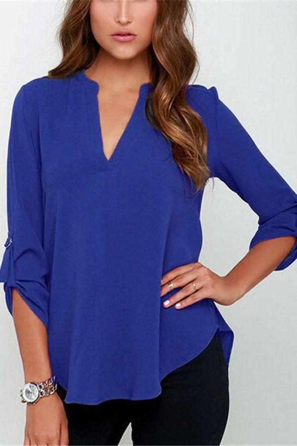 Royal Blue V-sionary Trendy Women V Neck Chiffon Blouse Top