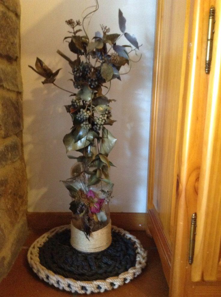 1000 images about botellas y tarros decorados con flores - Botellas con velas ...