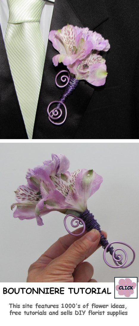 FREE TUTORIALS!  http://www.wedding-flowers-and-reception-ideas.com/make-your-own-wedding.html   How to Make a Boutonniere - Carnation Alstromeria Step by Step Flower Tutorial.  Buy professional florist supplies for DIY weddings.