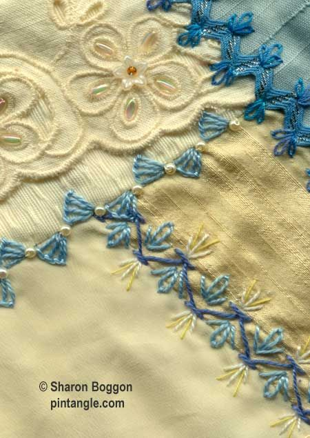 A tutorial on how to work decorative crazy quilt seams