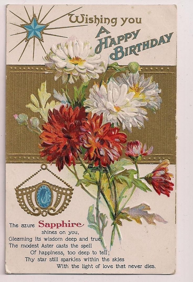166 best vntg postcards birthday images on pinterest vintage birthday sapphire september virgo mums floral flowers postcard ebay dhlflorist Gallery