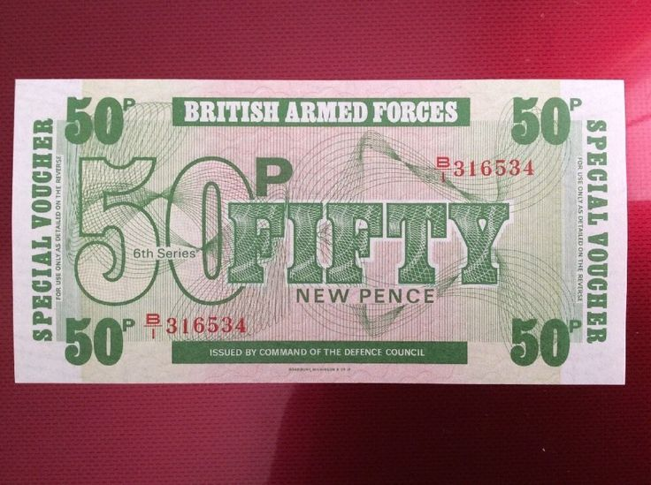 50p British Forces Banknote Serial Number B/I 316534 Personalised Initial BI