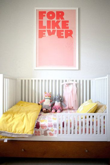 """Before: Crib Notes Erika first laid eyes on Super Rurals """"For Like Ever"""" poster print when she saw it in a Domino magazine feature on Jessie Randall of Loeffler Randall's New York apartment. I really think it adds that touch of spunk that I see in my daughter! she added.  Source: Jennifer Daigle Photography"""