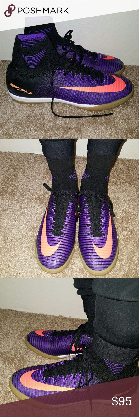 Nike Mercurial X Proximo Soccer Turf Indoor Hello! Today I'm selling my Nike Mercurial X mens soccer shoe I received this as a Christmas gift and there are just a little too tight for Comfort I wear more on the 9.5 side and these are size 9. They are beautiful purple and orange mix that looks great, has the attached sock so that turf beads don't get caught in your shoes while playing. The shoes can be used on turf and indoor surfaces as well as outdoor grass only tried on a couple times…