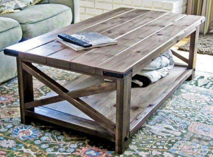 Rustic X coffee table design from Ana White