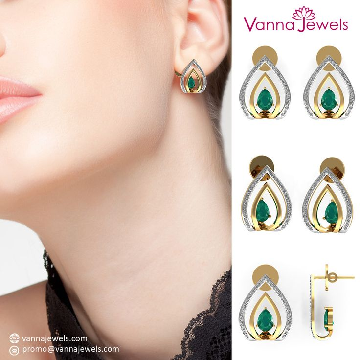 Vannajewels Collection Natural Emerald Designer Gemstone Stud Earrings SGL Certified Diamond Pave Birthday Gift Fine Jewelry Set in Solid 18k Yellow Gold