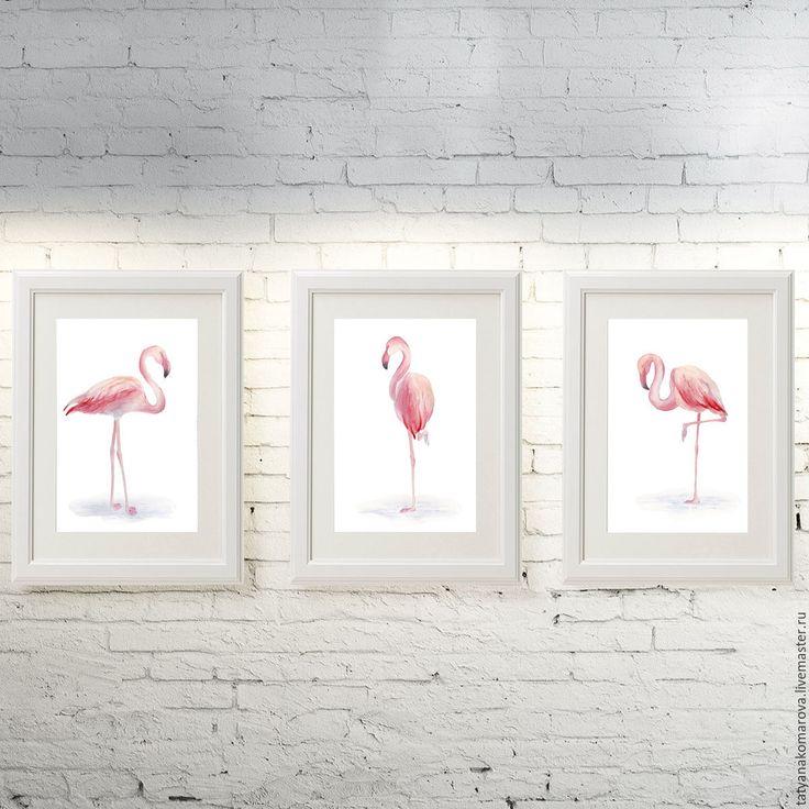 """Купить Картины акварелью """"Фламинго"""" - бледно-розовый, белый, акварель, акварельная картина, акварельная живопись"""