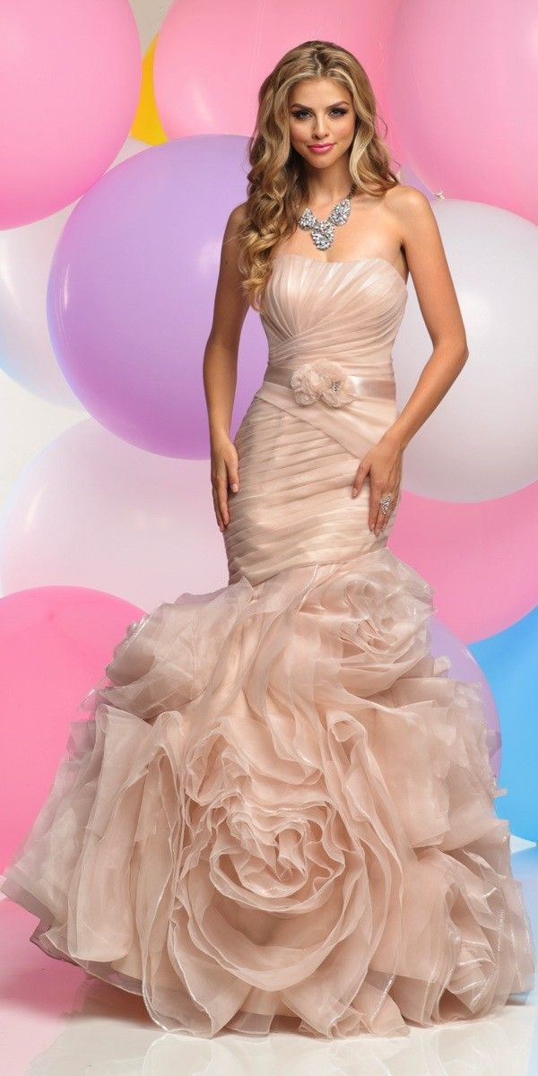 Strapless Organza Mermaid Prom Dress 30871. Colors: Blush. Size: 0-12