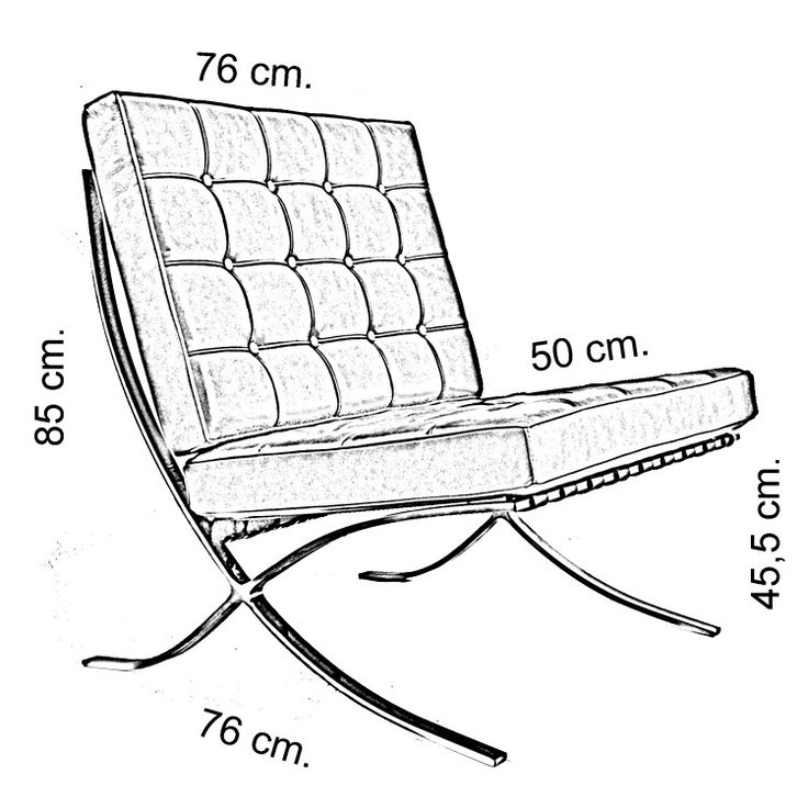 Barcelona Chair Drawing Move Your Mouse Over Image or