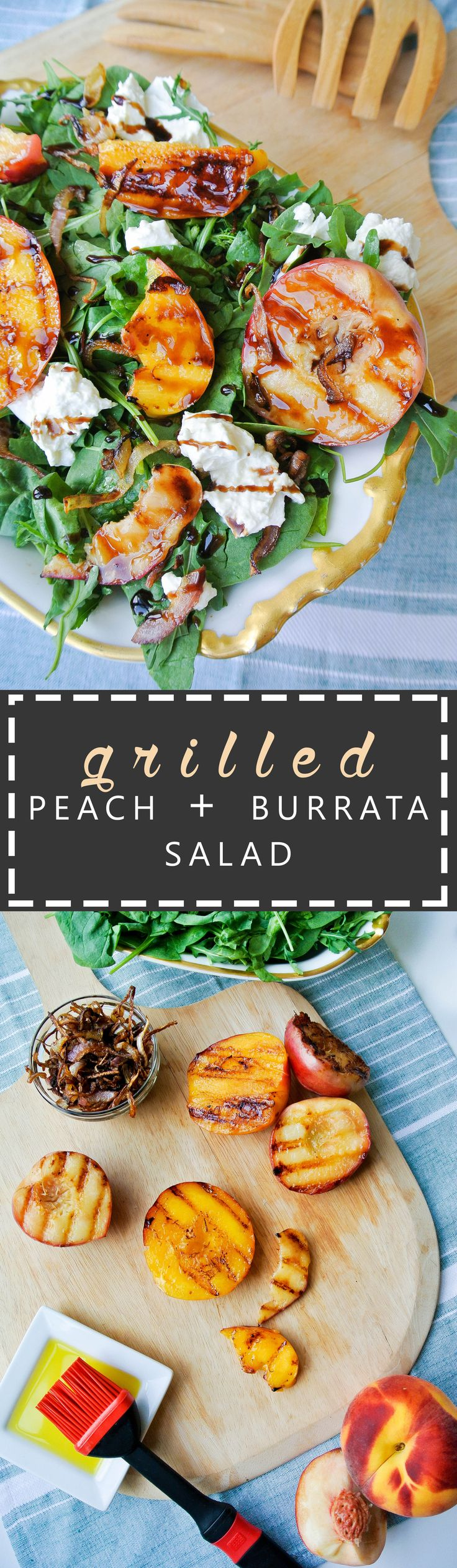 {grilled peach + burrata salad with balsamic glaze} fresh arugula + baby spinach make a beautiful bed for grilled peaches, creamy burrata and caramelized onions.