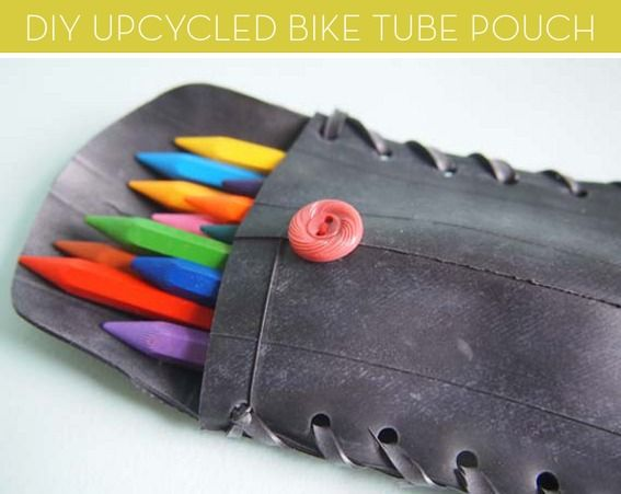 How to turn a bicycle tube into a pencil pouch (gadget case, business card holder, sunglasses pouch, etc.)! #DIY