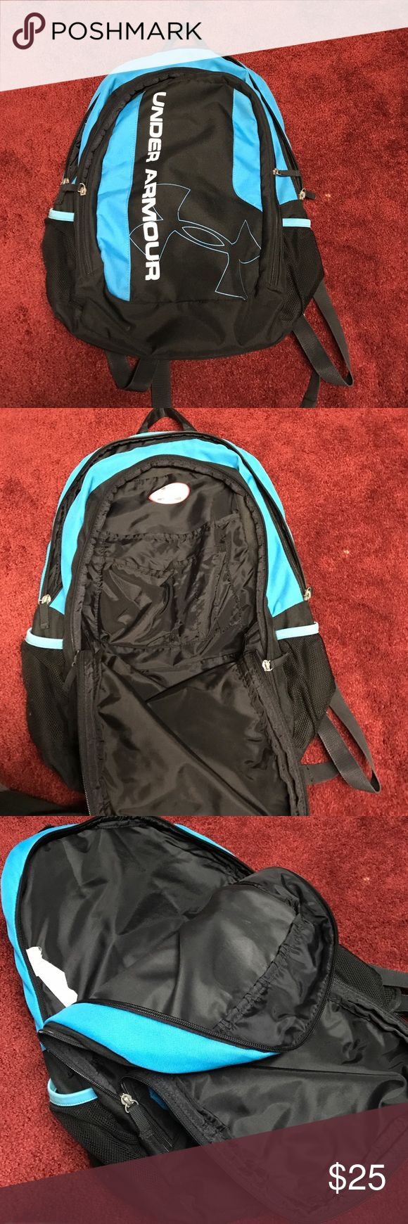 Under Armor Back Pack Was used before. Very good condition. Does have my name written on the under armor spot for the name. Has 2 main pockets, in the front pocket there is a compartment for a phone, pencils, pens, etc. There are two side water bottle holders. Great back pack overall! Can fit books, laptops, great for a student. Under Armour Bags Backpacks
