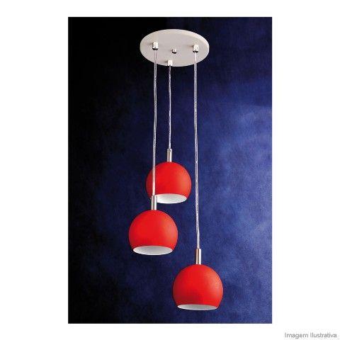 Pendente de alumínio com 3 bolas 3 lâmpadas 60W vermelho Pantoja - Telhanorte