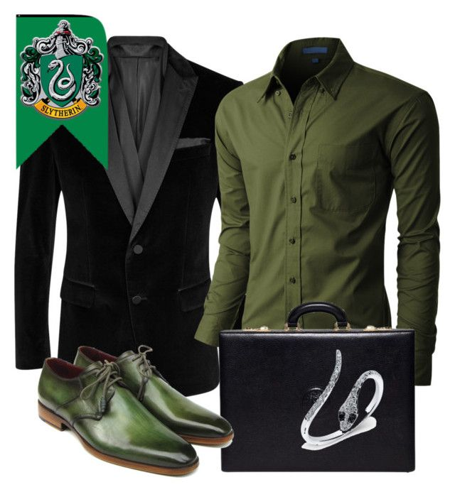 """Slytherin inspired outfit"" by hogwartsinspired on Polyvore featuring BOSS Black, LE3NO, Versace, Anne Sisteron, men's fashion and menswear"