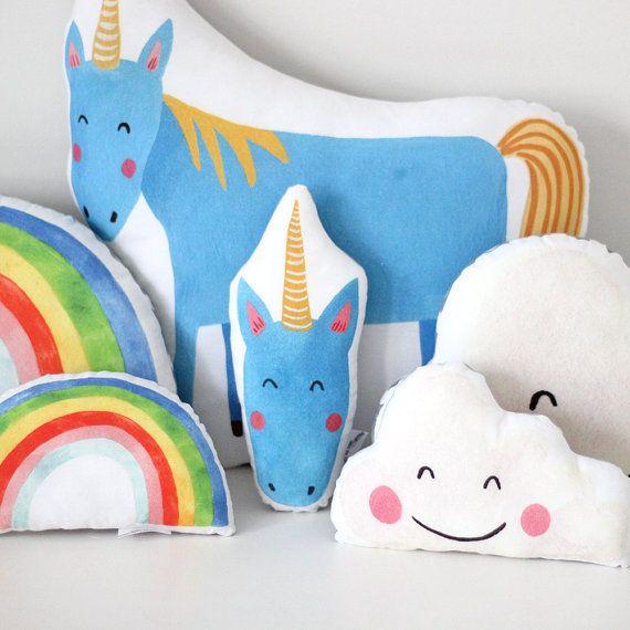 Blue Unicorn Cushion by TheFoxintheAttic on Etsy