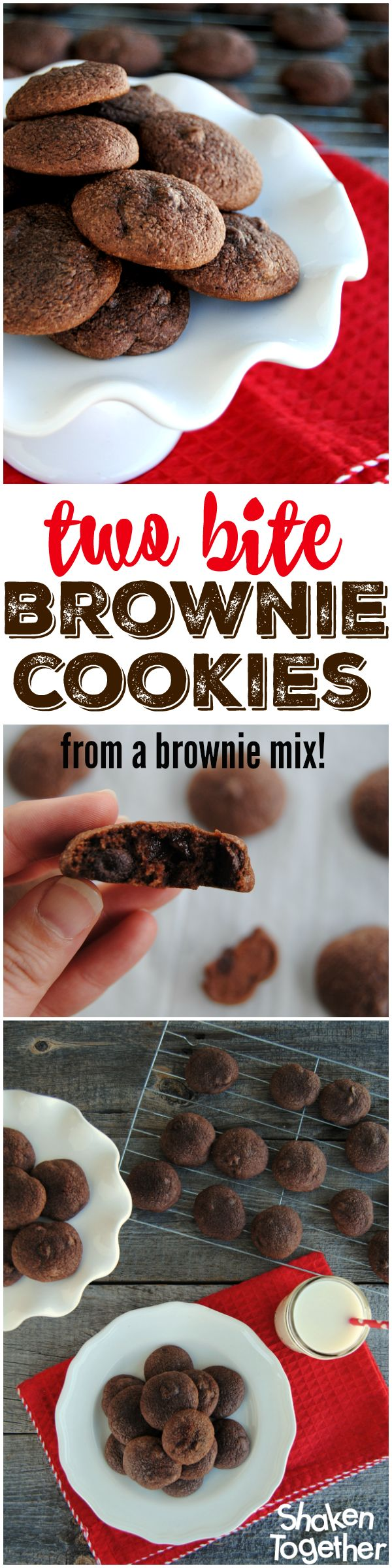 Soft and chewy, ultra chocolatey Two Bite Brownie Cookies! Better yet, they are super easy because they start with a brownie mix!