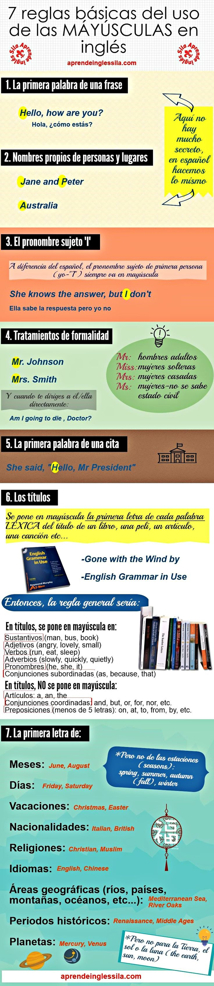 mayúsculas en inglés