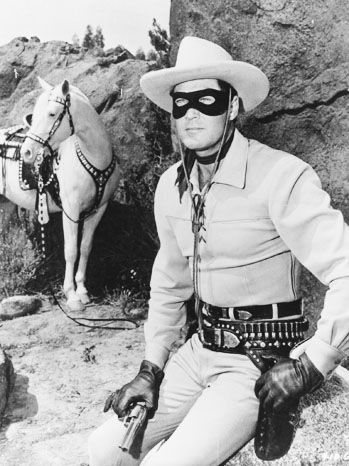Clayton Moore as the Lone Ranger – gosh, his shirt and trousers were tight!