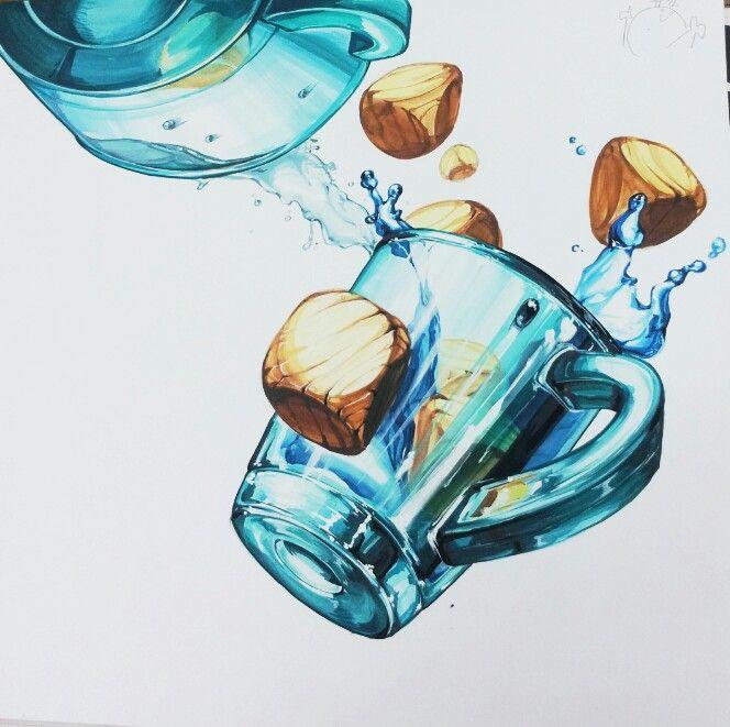 질감- 나무, 유리, 물