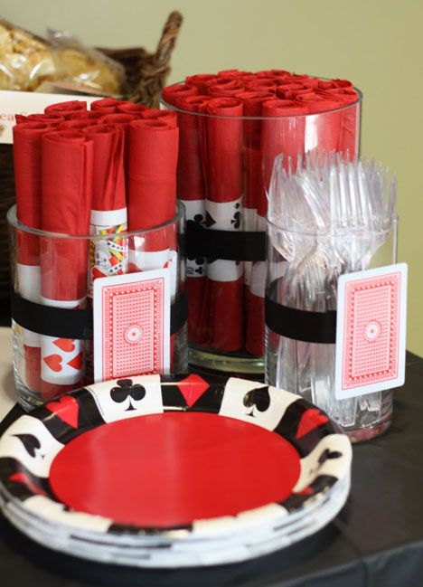 Poker night, Las Vegas, or gambling theme - love her use of cards all around!