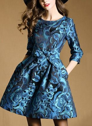As Picture Polyester Floral 3/4 Sleeves Above Knee Dresses