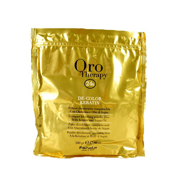 Fanola Oro Therapy keratin powder 500g Compact bleaching powder blue with Keratin and Argan Oil GOLD 24K leaves hair brilliant with an incredible weightless anti-age action.Argan Oil protects, brightens, nourishes and strengthens hair. Rich in Vitamin E. Keratin strengthens this bond favoring an intense restructuring action during the process. Ideal for carrying out streaking, bleaching, decolouring and all other lifting techniques. www.amrhair.com.au