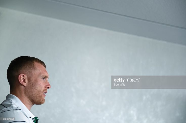 23 September 2015; Ireland's Keith Earls speaking at a press conference. 2015 Rugby World Cup, Ireland Rugby Press Conference. St George's Park, Burton-upon-Trent, England. Picture credit: Brendan Moran / SPORTSFILE