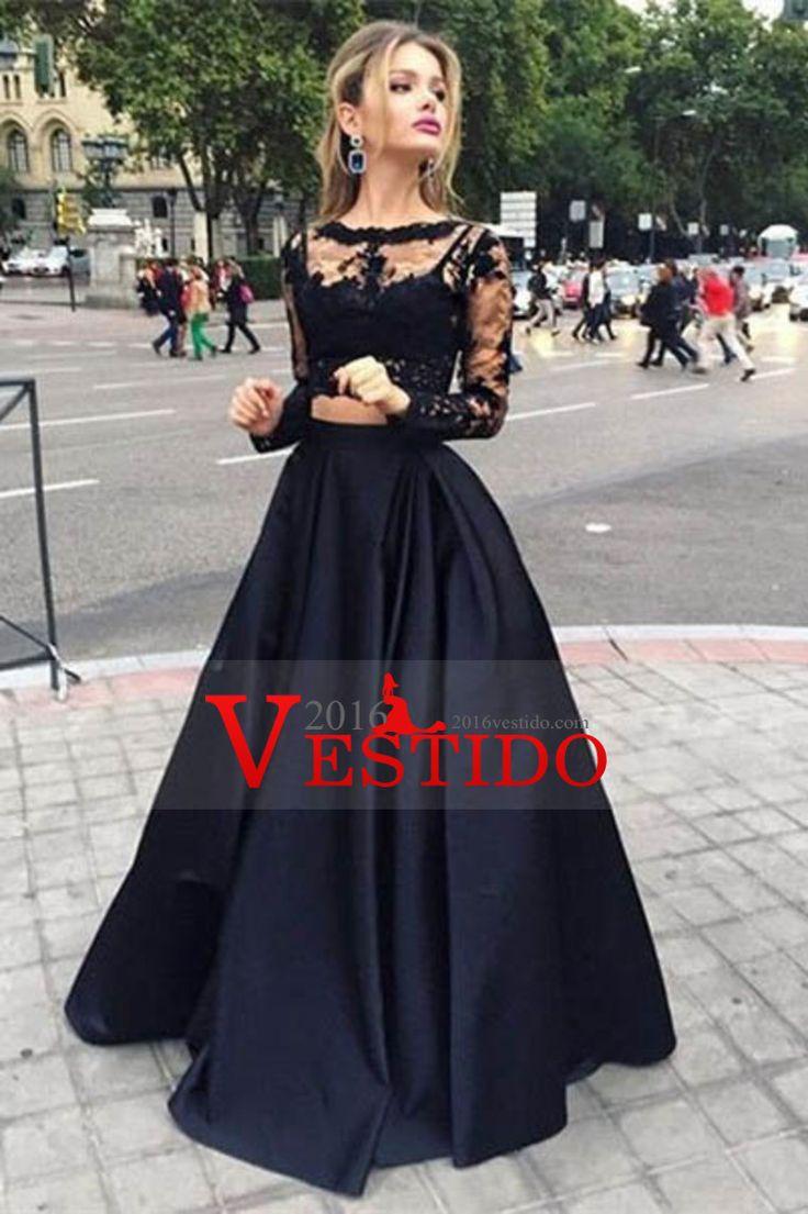 Negro 2016 de manga larga de dos piezas bateau longitud de vestidos de baile del…
