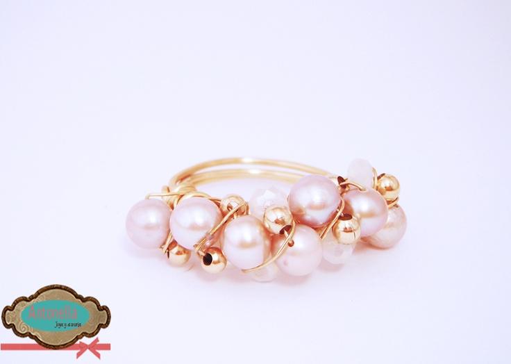 Anillo de perlas cultivadas rosado claro. #rings