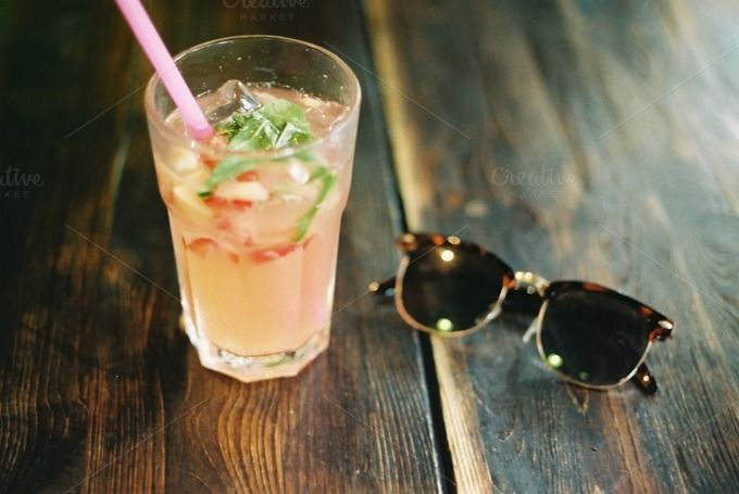 Cool drink & sunglasses by Kasia Górska on @creativemarket #stockphotography #summer #inspire #inspiration #drink #foodie #sunglasses