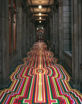 Glasgow-based artist Jim Lambie's vinyl tape installations
