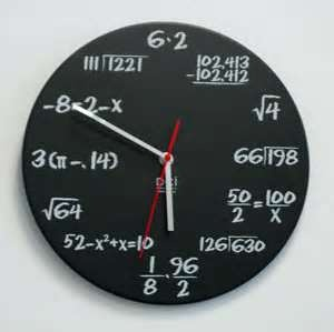 Math clock. (Paint with chalkboard paint. Or reg paint and dry-brush the white)