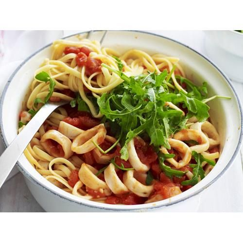 Spicy squid and tomato linguine recipe - By Australian Women's Weekly