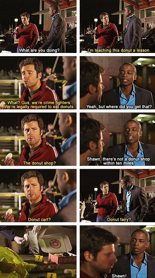 The Psych promo where Shawn steals a donut from the dead guy...and Shawn complains every time Gus eats something around a dead person and/or ill person in a hospital.