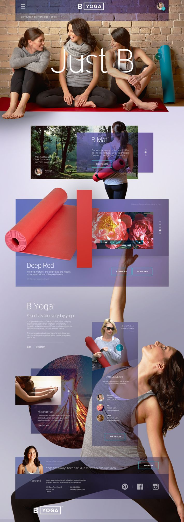 B Yoga Website : Post Launch Revisit v2 by John Speed, via Behance #webdesign #wordpress #canada #interactive