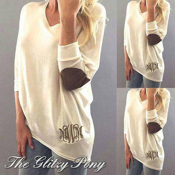 monogrammed casual elbow patch long sleeve shirt  women u0026 39 s shirt  elbow patch sweater