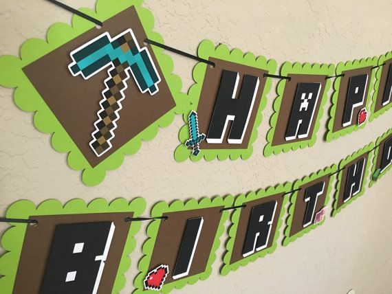 MINECRAFT3D Birthday Banner Minecraft Banner by gramspartybanners