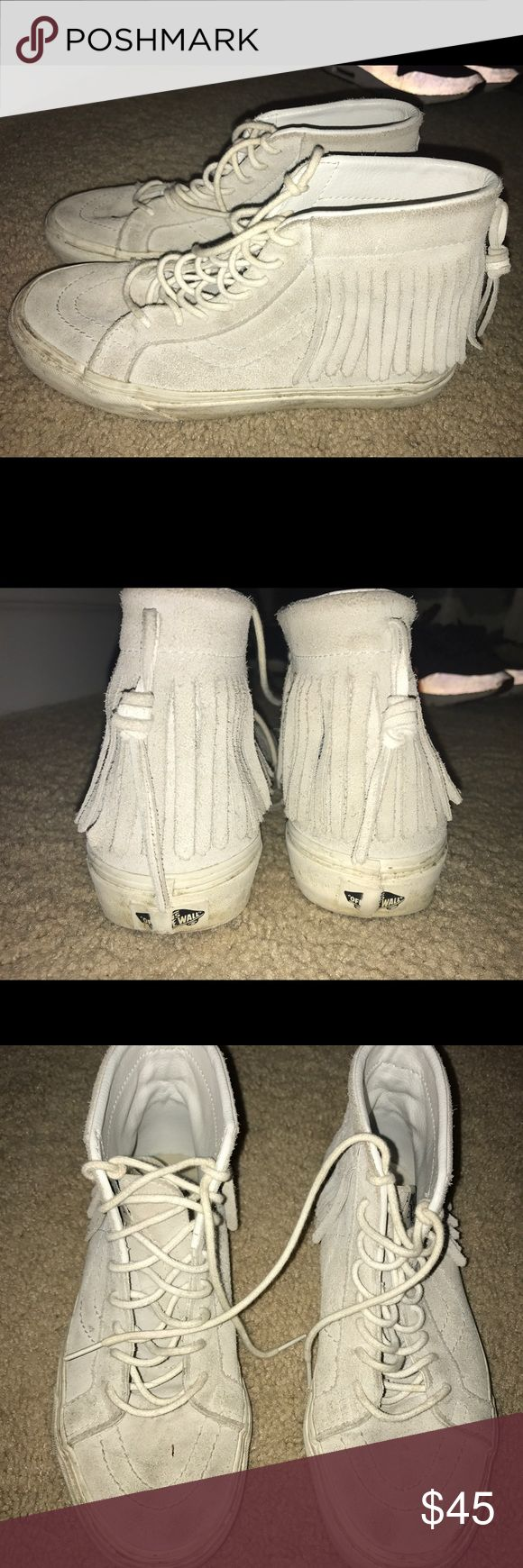 Fringe high top vans Light grey fringe vans. High tops.. Fits like size 9 Vans Shoes Sneakers