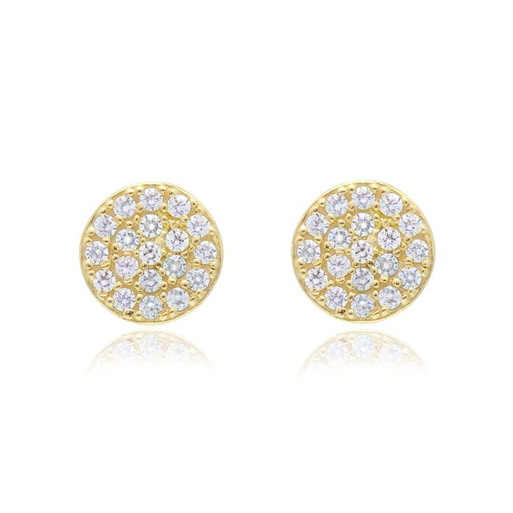 Disc Earrings in 14K Gold with CZ Pavé