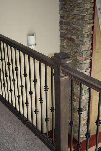 Oak Stair Railing & Iron Balusters contemporary staircase
