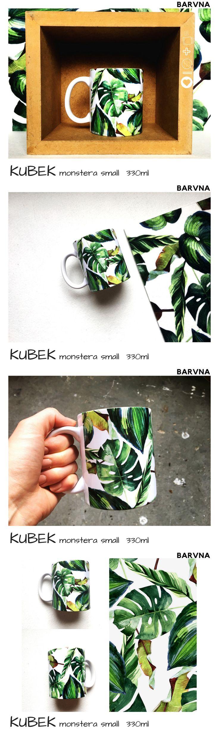 kubek monstera small cup  floral tropic leafs liście tropikalny