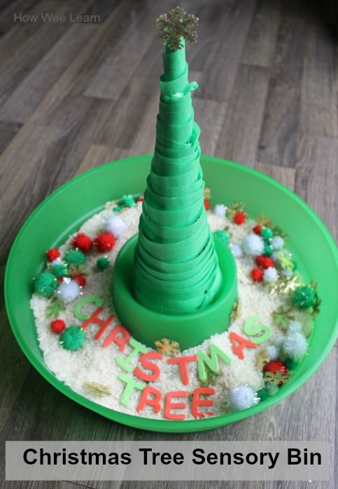 Christmas Sensory Bin and a Sticky Tree from How Wee Learn