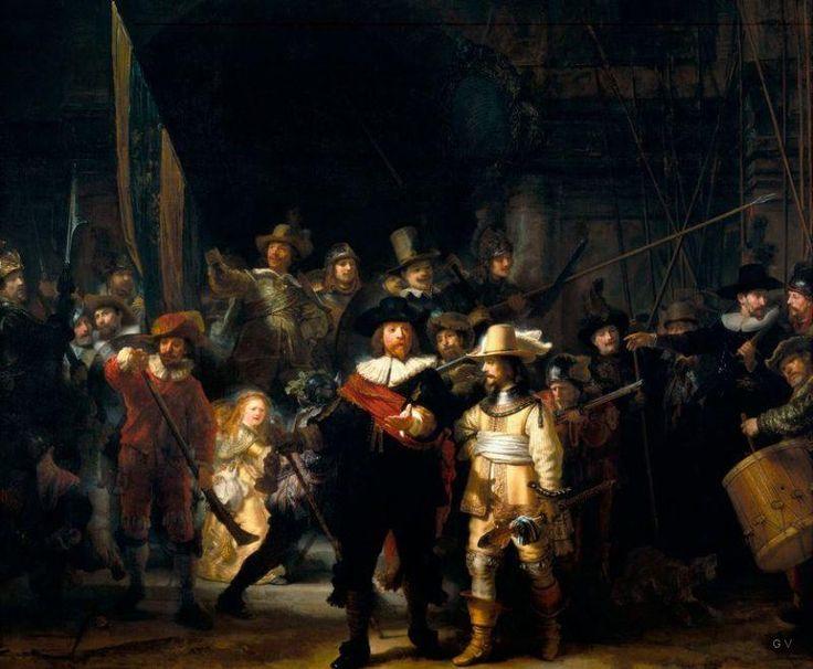 La ronda de noche - Pinturas Famosas Night Watch - creada por Rembrandt Van Rijn