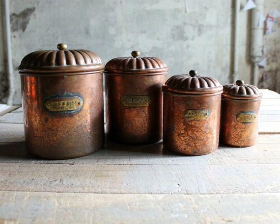 4 Vintage Copper Kitchen Canister Set Modern Farmhouse