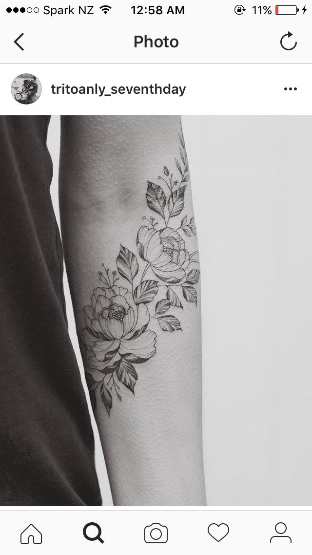 Floral forearm sleeve // flower for each member of my family More                                                                                                                                                                                 Plus