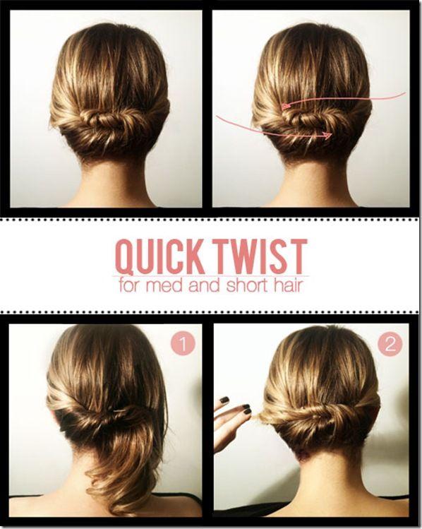 Easy + elegant.: Hair Ideas, Medium Length, Hair Twists, Quick Twists, Medium Hair, Hairstyle, Shorthair, Shorts Hair Style, Updo