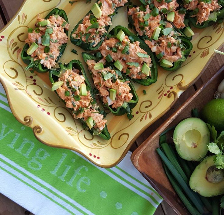 Buffalo-Lime Chicken Stuffed Anaheim Peppers Recipe Clean Eating  http://cleanfoodcrush.com/buffalo-stuffed-peppers/